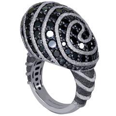Alex Soldier Black Diamond Blackened Textured Gold Swirl Art Ring Handmade