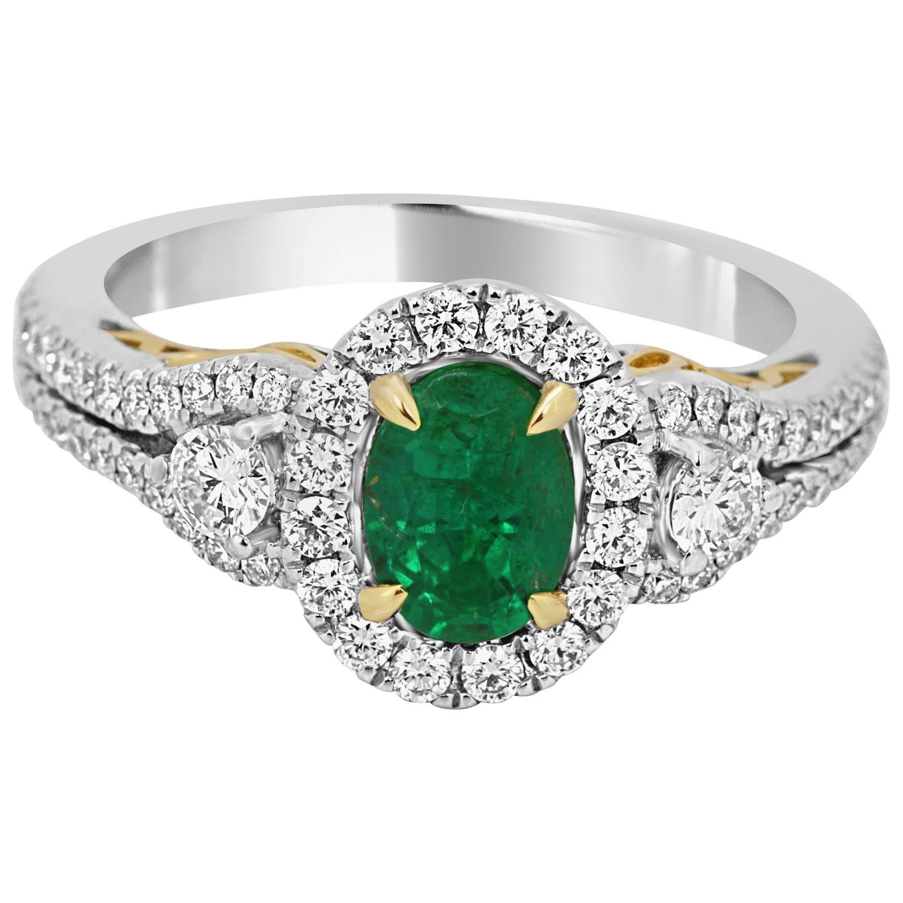 Emerald Oval White Diamond Halo Two Color Gold Three Stone Bridal Fashion Ring