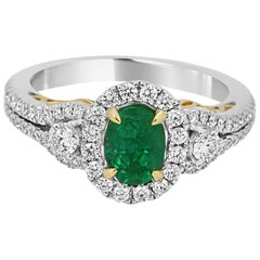 Emerald Diamond Halo Two Color Gold Ring