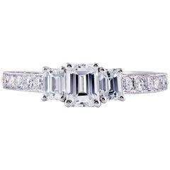 Emerald Cut Diamond Three-Stone Engagement Ring