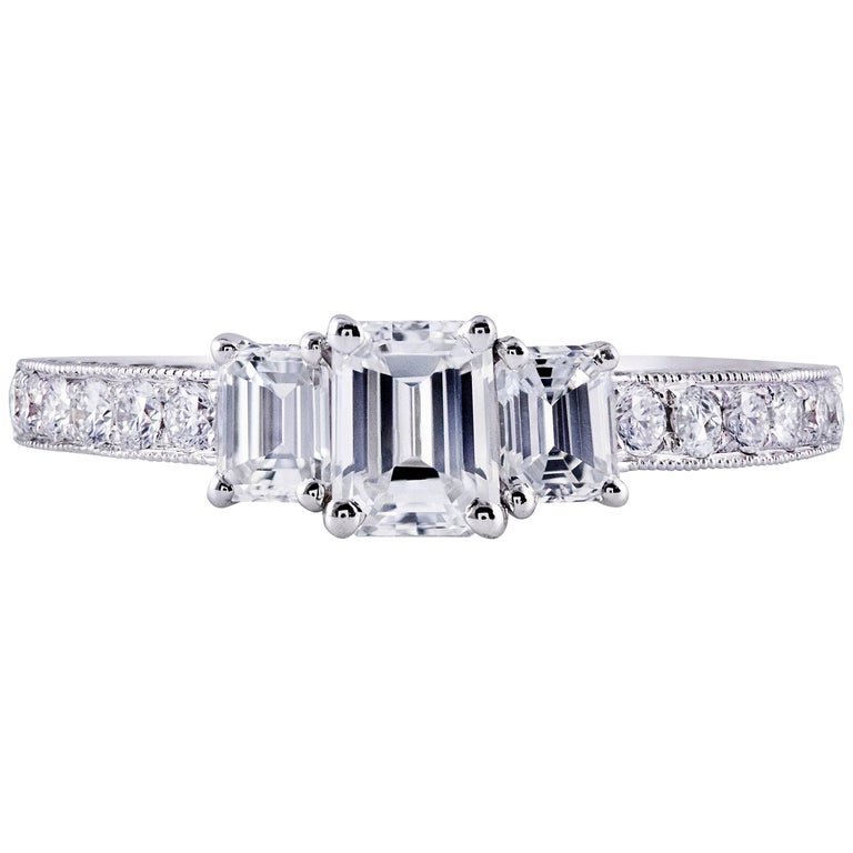 Emerald Cut Diamond Three Stone Engagement Ring For Sale at 1stdibs