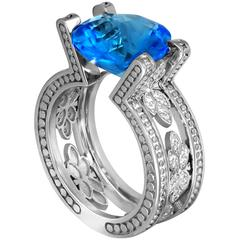 Alex Soldier Blue Topaz White Diamonds White Gold Ring Limited Edition Handmade