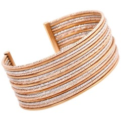 Modern Italian Multi-Row Tricolor Gold Cuff Bangle Bracelet