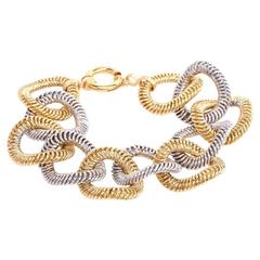 Fancy Oval Link Twisted Wire Two Color Gold Bracelet