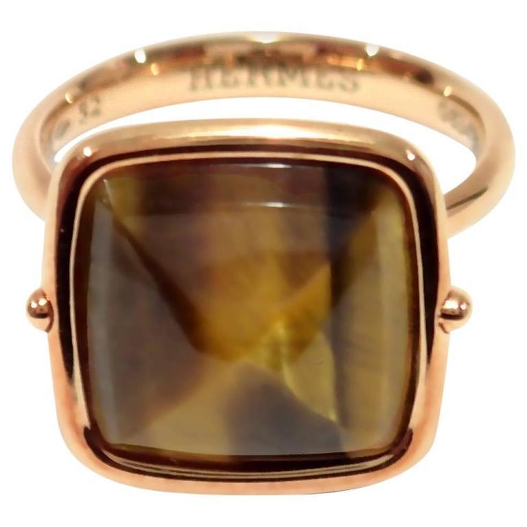 Hermes Tiger Eye Rose Gold Cocktail Ring