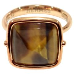 Hermes Tiger Eye Rose Gold Cocktail Ring