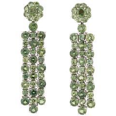 Green Sapphire Dangle Earrings, 16.06 Carat