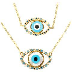 Amedeo Mother-of-Pearl Rhodium-Plated Sterling Silver Evil Eye Necklace