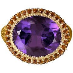 Amethyst Madeira Citrine Yellow Gold Cocktail Ring One of a Kind Handmade in NYC