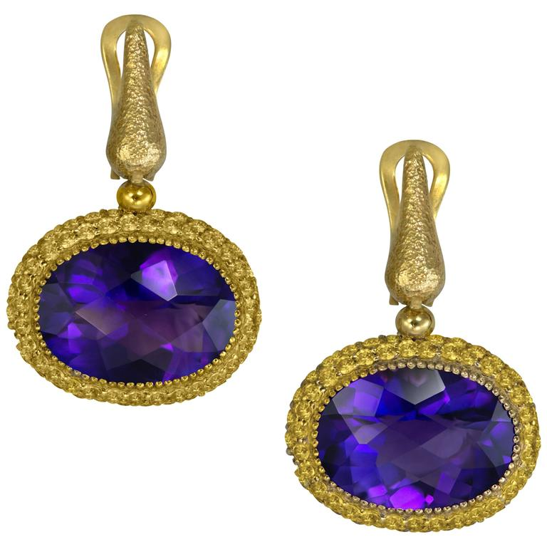 Alex Soldier Amethyst Yellow Sapphire Cocktail Drop Textured Earrings 1