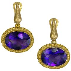 Amethyst Yellow Sapphire Cocktail Drop Textured Earrings One of a Kind Handmade