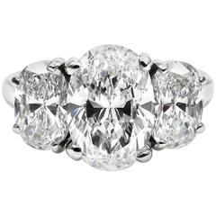 3.23 Carat Total Oval Three Stone Diamond Platinum Ring GIA