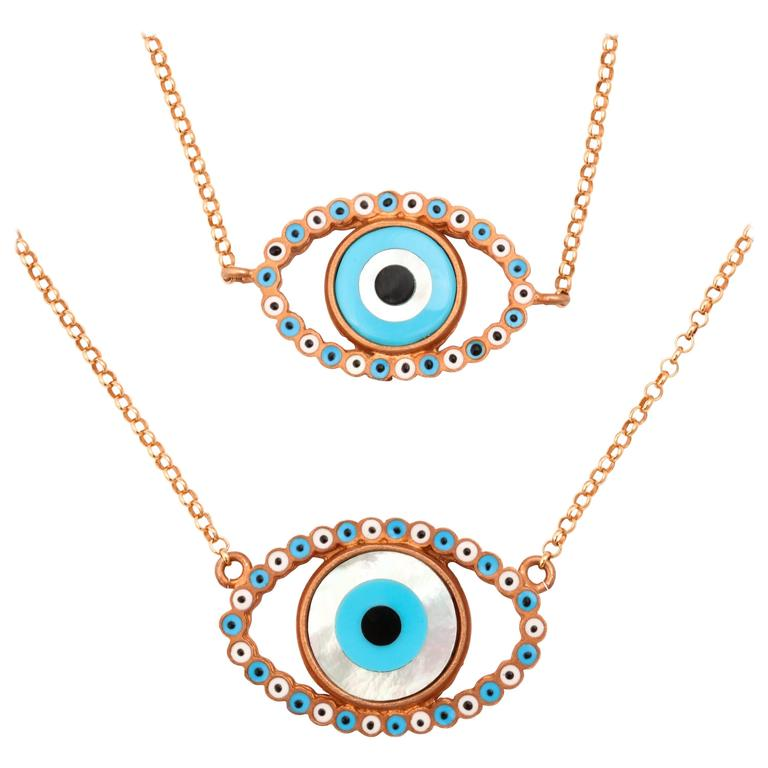 Amedeo Mother-of-Pearl Rhodium-Plated Sterling Silver Evil Eye Necklace For Sale