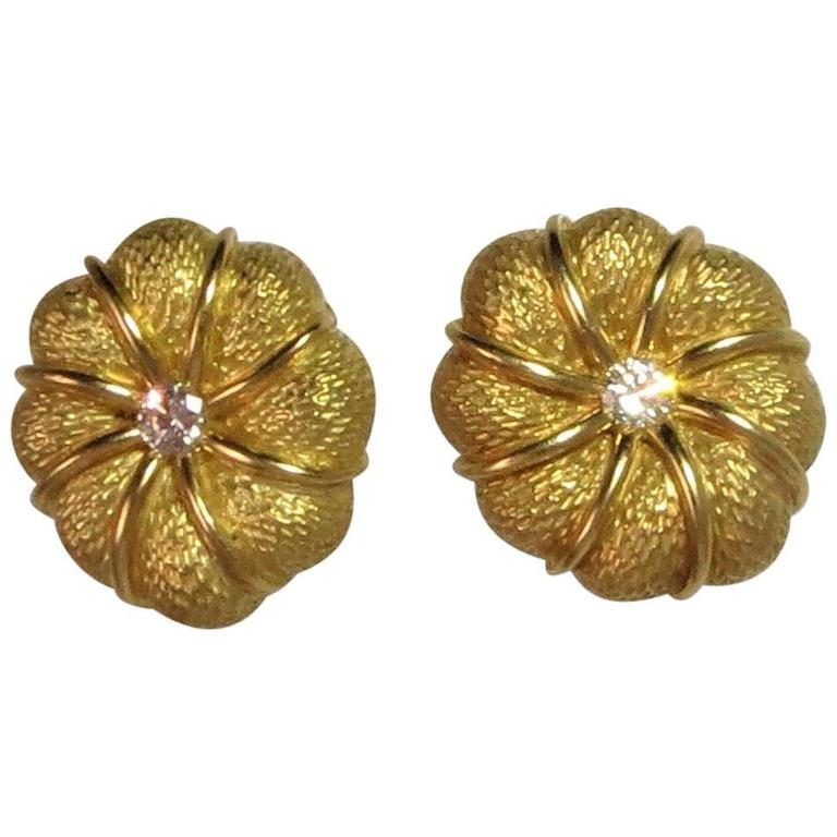 Tiffany & Co. Diamond Yellow Gold Flower Ear Clips