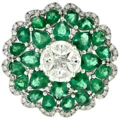 Emerald and Diamond Large Floral Cocktail Ring in 18 Karat White Gold