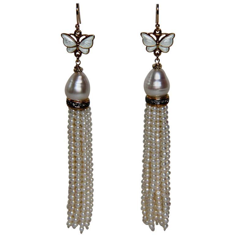 Marina J Pearl Gold Butterfly Tassel Earrings