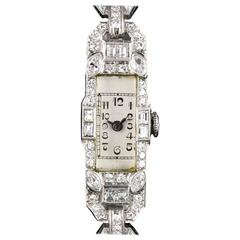 Platinum Silver Dial Diamond Set Cocktail Vintage Ladies Wristwatch