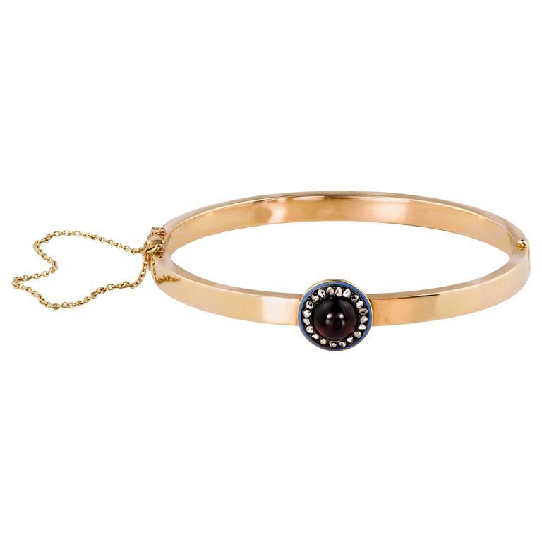English Victorian 15 Karat Rose Gold Diamond Garnet Enamel Bracelet