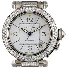 Cartier Ladies White Gold Fully Loaded Diamond Set Pasha Automatic Wristwatch