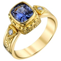 1.60 Carat Cushion Cut Bezel Set Violet Sapphire & Diamond 18k Yellow Gold Ring