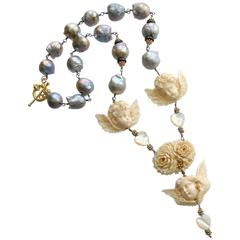 Gray Baroque Pearls EcoIvory Cherubs Necklace