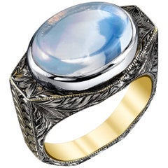 6.11 Carat Moonstone Ring 18k White Gold