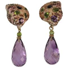 Shell Earrings Bezel Set with Amethyst and Peridot with Detachable Faceted Drops