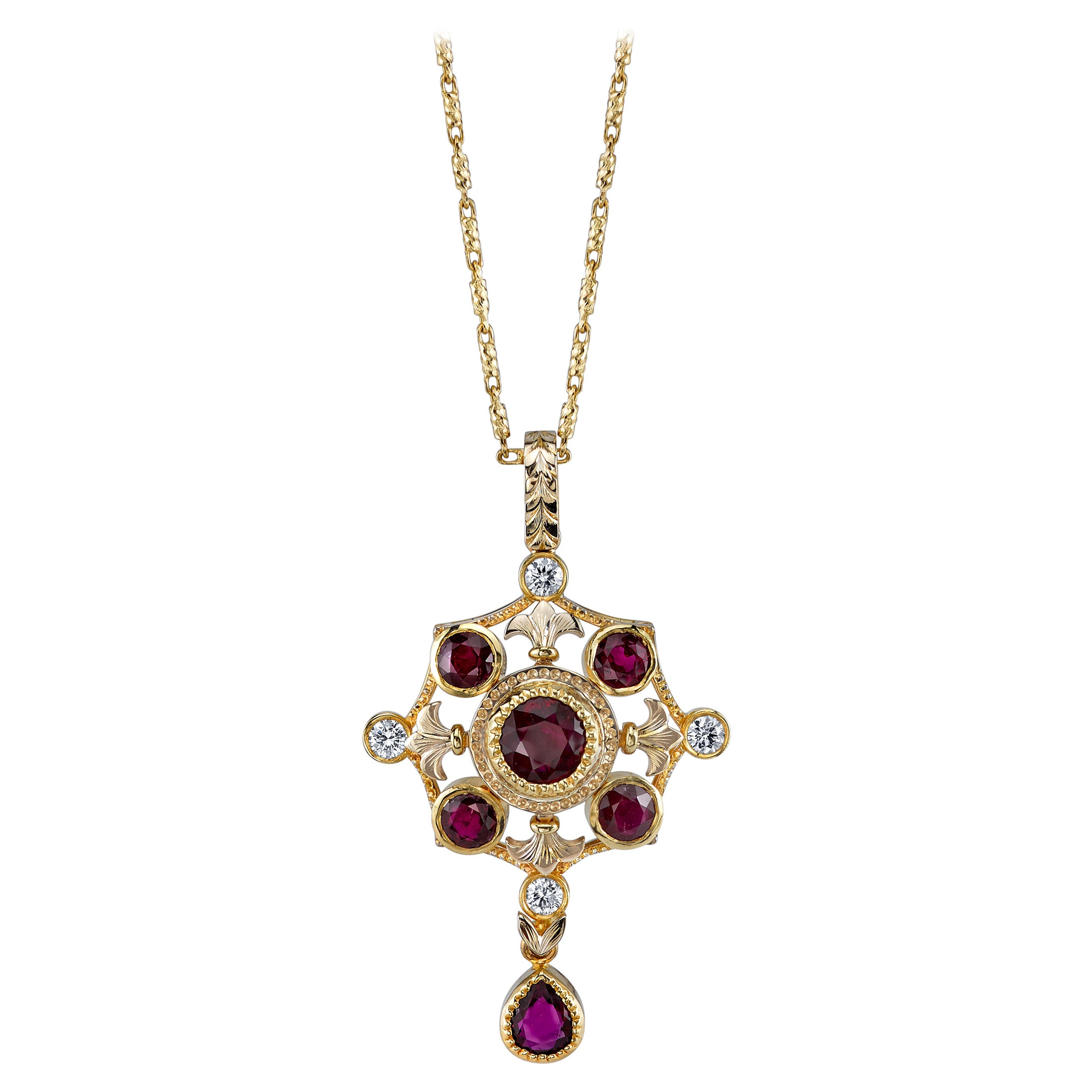 "Ruby, Diamond Yellow Gold Drop ""Renaissance"" Style Pendant Chain Drop Necklace"