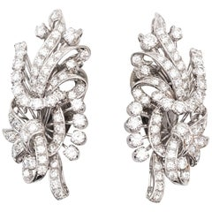 1950s  Diamond Platinum Earrings
