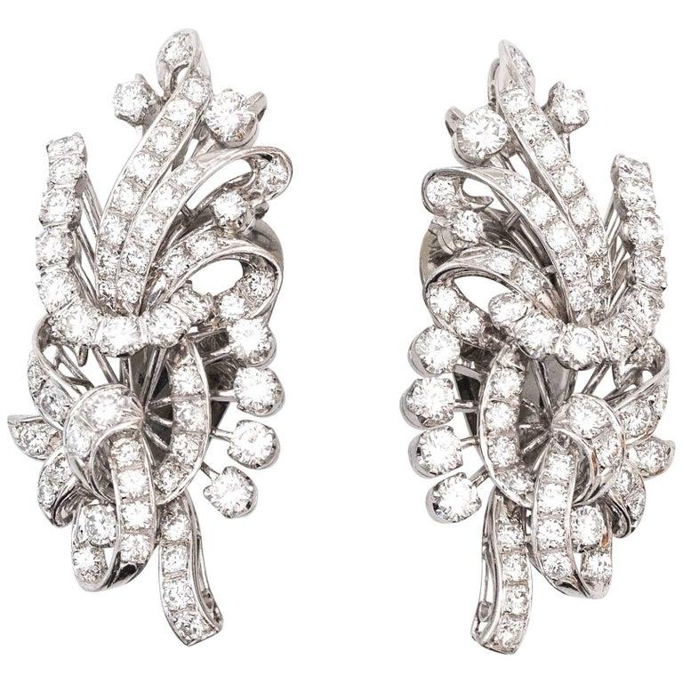 1950s Retro Diamond Platinum Drop Earrings