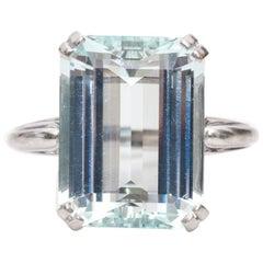 1940s Aquamarine White Gold Ring