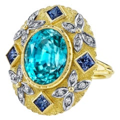 Blue Zircon Sapphire White Diamond gold Ring