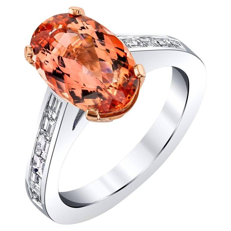 Imperial Topaz Diamond white gold Ring