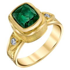 Blue-Green Tourmaline and Diamond 18k Yellow Gold Bezel Set Hand Engraved Ring