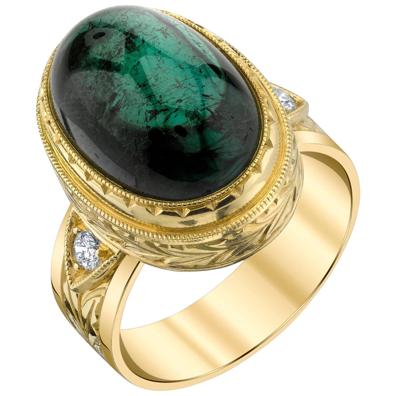 Green Tourmaline Cabochon, Diamond, Yellow Gold Bezel Engraved Band Ring