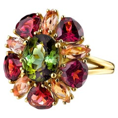Green Tourmaline Garnet Topaz yellow gold Ring