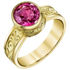 Pink Spinel and 18k Yellow Gold Bezel Set Handmade Engraved Solitare Band Ring