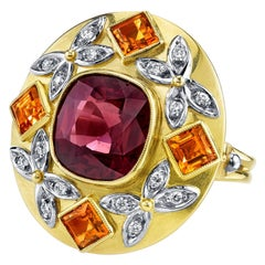 Spinel Citrine Diamond yellow gold Ring