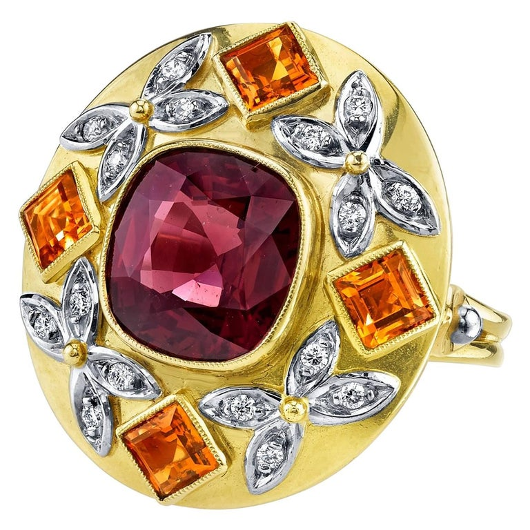 5.23 Carat Red Spinel, Citrine, Diamond, Tri-Color Gold Handmade Cocktail Ring For Sale