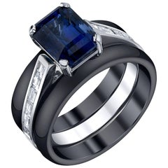Blue Sapphire Diamond white gold Ring