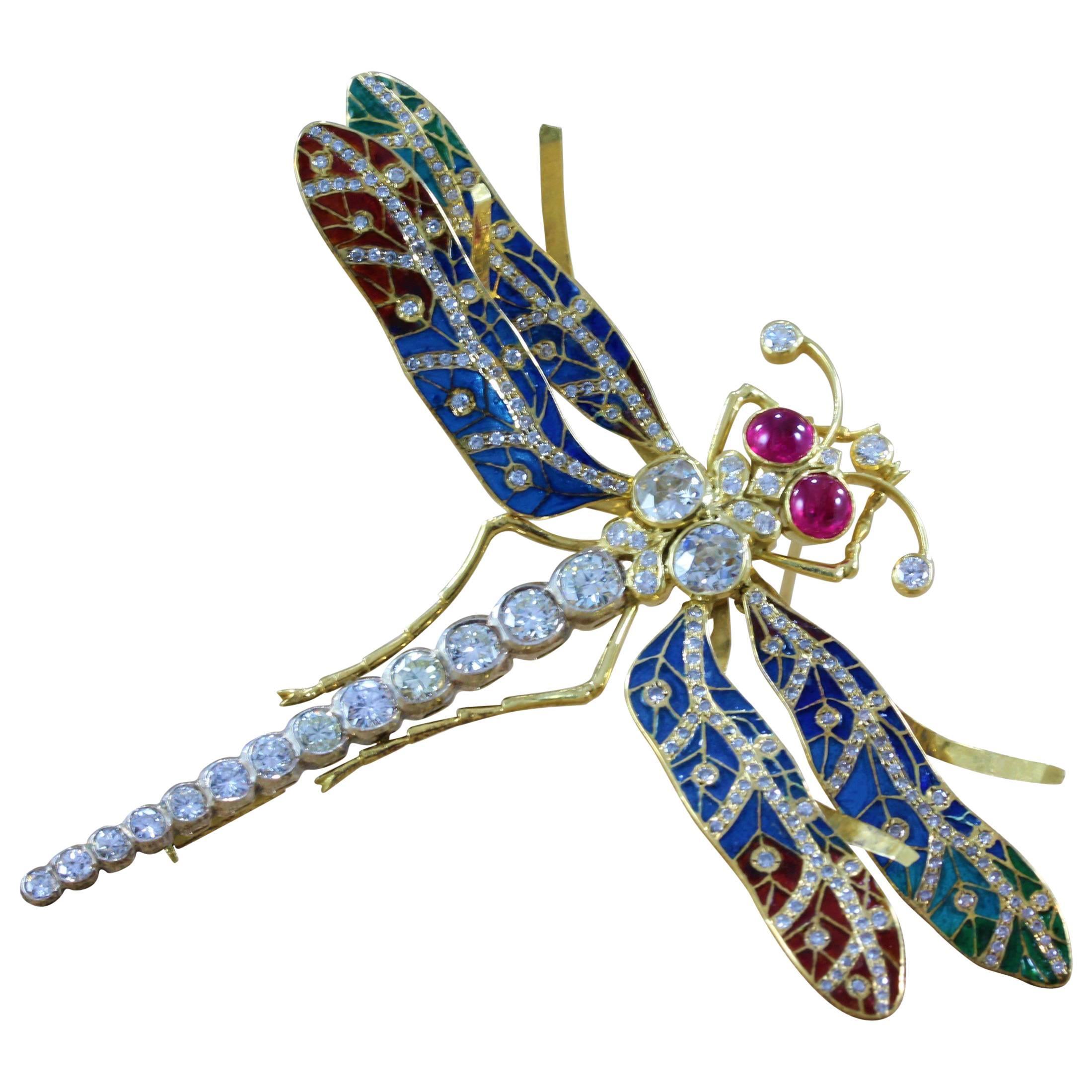 Diamond Ruby Plique-a-Jour Enamel Gold Dragonfly Brooch