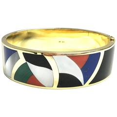 Asch Grossbardt Inlay Multi Gemstone Gold Hinged Bangle Bracelet