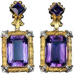 Belle Époque Antique Amethyst Diamond Carved Gold Platinum Earrings