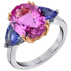Pink Sapphire And Tanzanite  Gold Ring