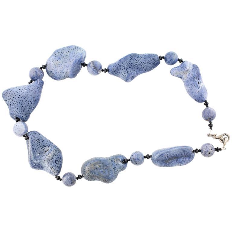 Natural Blue Coral black Spinel Diamonds Sterling Silver Necklace