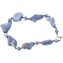 Natural Blue Coral black Spinel Diamonds Sterling Silver Necklace