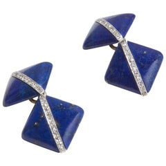 Art Deco Lapis Lazuli Diamond Cufflinks