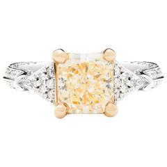 2.25 Carat Yellow Diamond white and yellow gold Engagement Ring