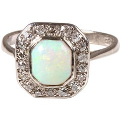 18 Carat White Gold Art Deco Opal Diamond Halo Dress Ring