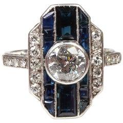 Original Art Deco Platinum Sapphire Diamond Dress Ring